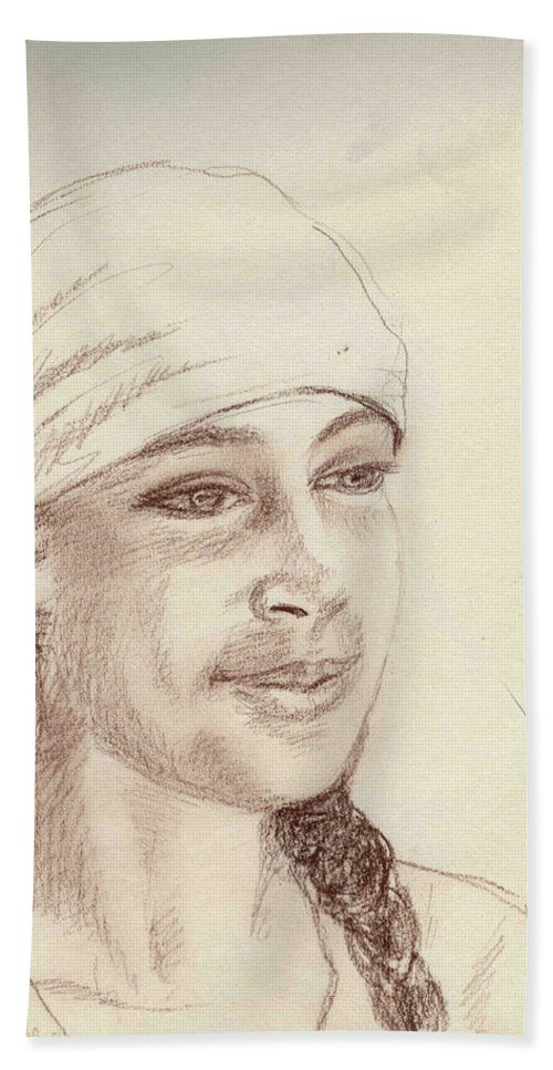 Girl In A Scarf Bath Sheet featuring the drawing A Girl In A Scarf by Asha Sudhaker Shenoy
