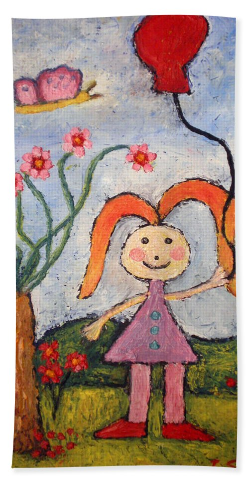 Girl Bath Sheet featuring the painting A Girl With A Balloon by Ioulia Sotiriou
