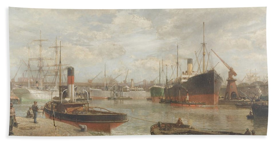 Harbor Bath Towel featuring the painting A Glimpse In 1920 Of The Royal Edward Dock, Avonmouth by Arthur Wilde Parsons
