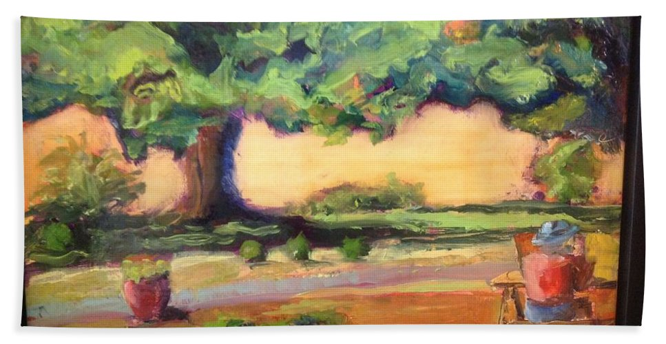 Oil On Panel Bath Sheet featuring the painting A Good Day by Leslie Dobbins