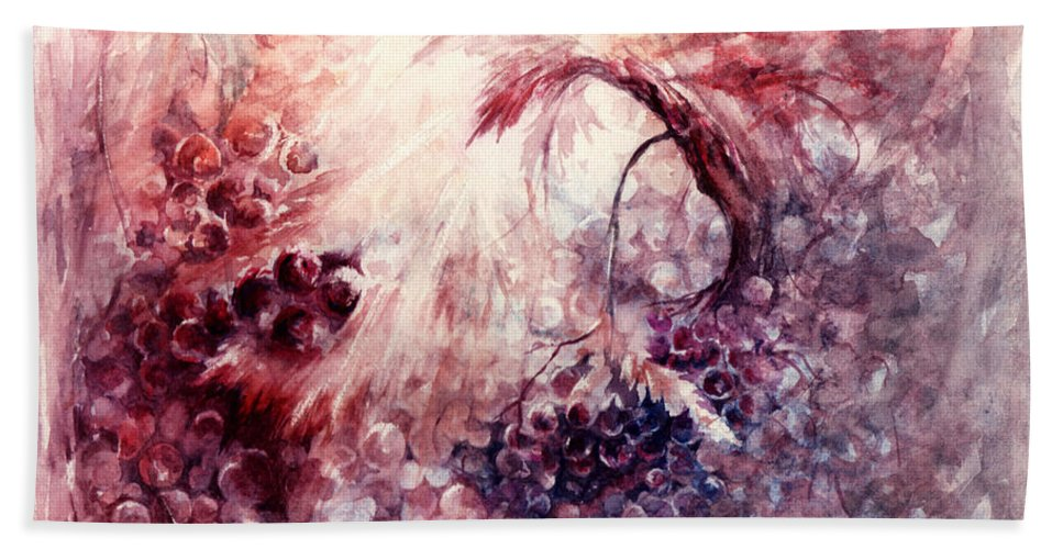 Grapes Hand Towel featuring the painting A Grape Fairy Tale by Rachel Christine Nowicki