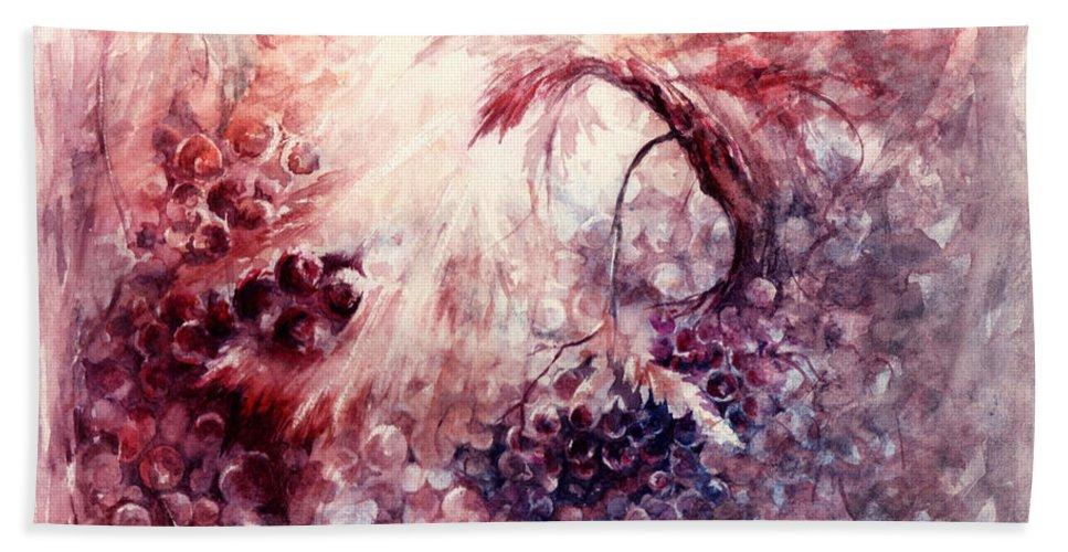 Grapes Bath Towel featuring the painting A Grape Fairy Tale by Rachel Christine Nowicki