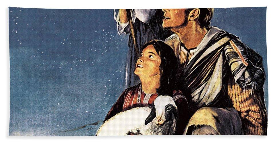 Shepherd Bath Sheet featuring the painting A Happy Christmas by JM Watt