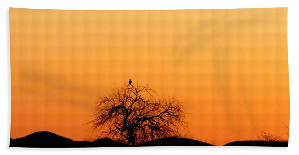 Sunset Bath Sheet featuring the photograph A Hawk At Sunset by Teresa Stallings