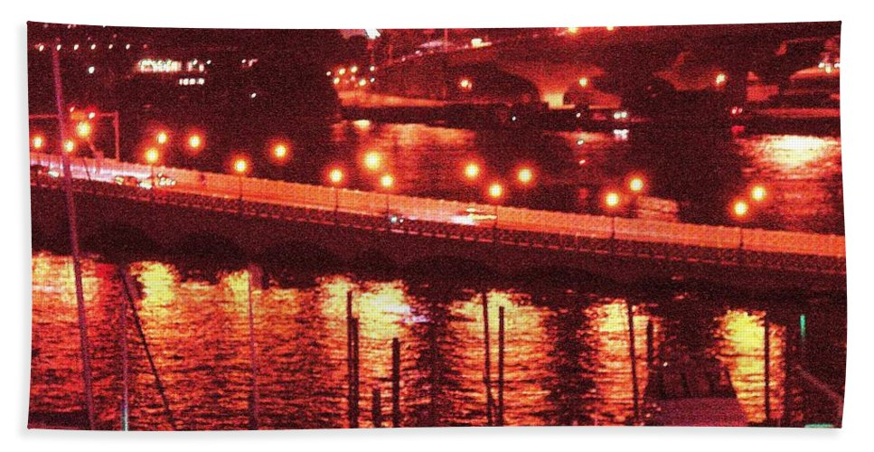 Biscayne Bay Hand Towel featuring the photograph A Hot Night On Biscayne Bay by Margaret Bobb
