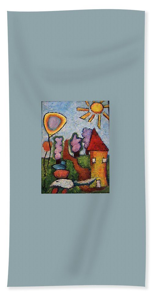 Landscape Bath Sheet featuring the painting A House And A Mouse by Ioulia Sotiriou