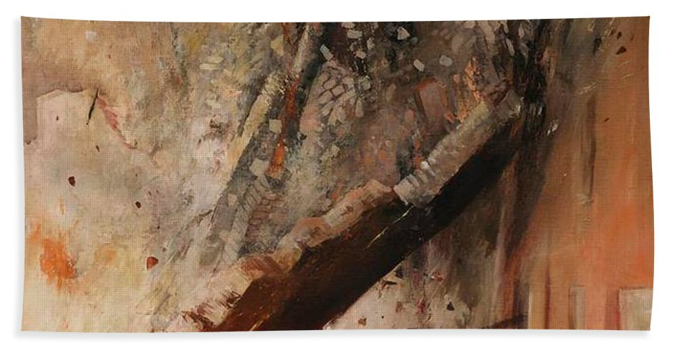 Painting Hand Towel featuring the painting A House Collapsing On Two Firemen by Mountain Dreams
