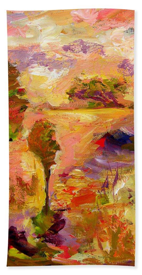 Colorful Canvas Prints Bath Sheet featuring the painting A Joyous Landscape by Julianne Felton