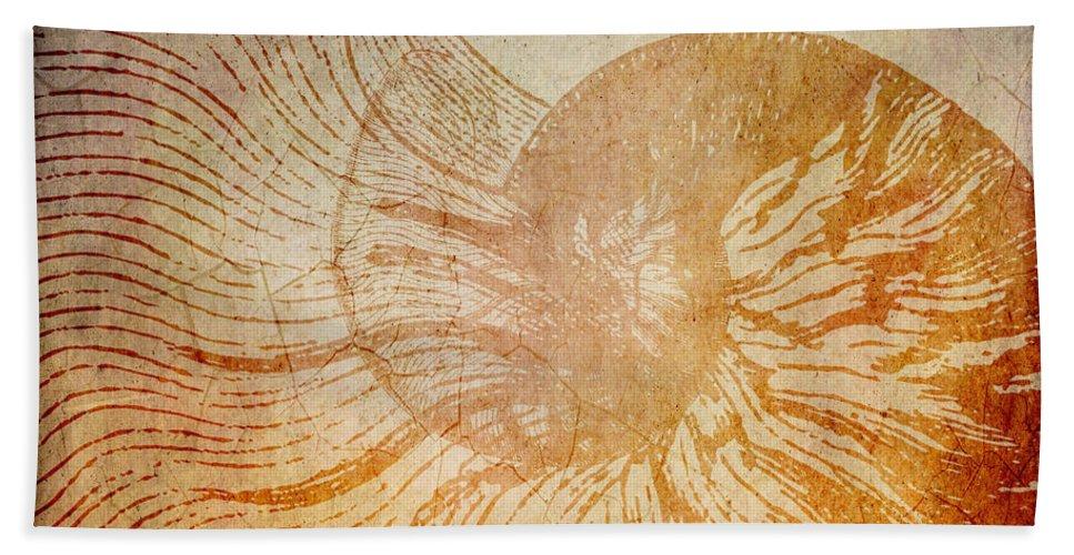 Brandi Fitzgerald Hand Towel featuring the digital art A La Mer Nautilus by Brandi Fitzgerald