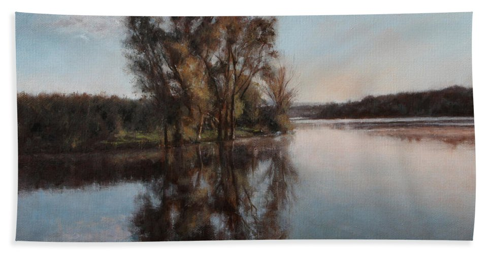 Realism Bath Towel featuring the painting A Lake by Darko Topalski