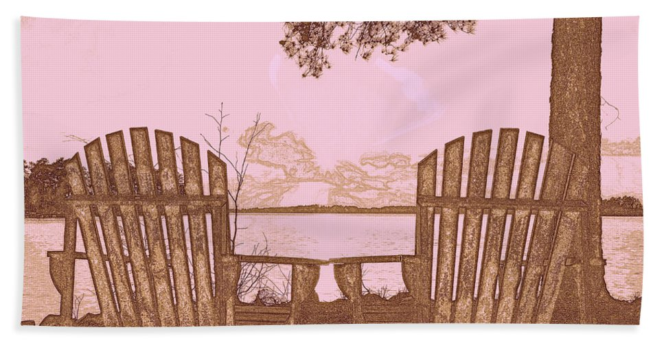 A Lake Murray Sc Sketch Hand Towel featuring the photograph A Lake Murray Sc Sketch by Lisa Wooten