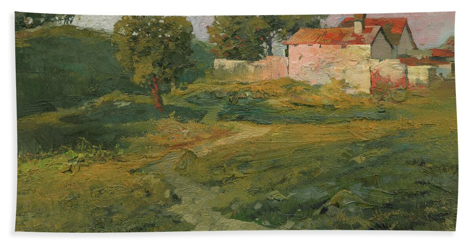 Sunset Bath Towel featuring the painting A Landscape In Vicinity Of Strijigorod by Denis Chernov