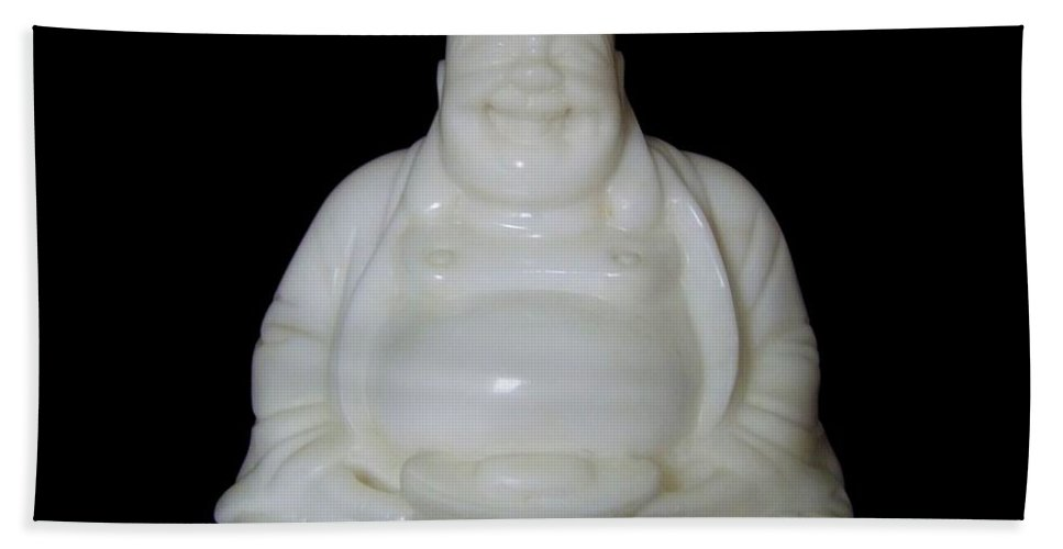 Mary Deal Hand Towel featuring the photograph A Laughing Buddha Brings Good Luck by Mary Deal