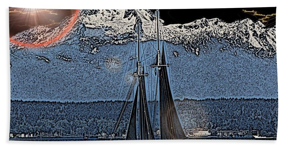 Sail Bath Sheet featuring the digital art A Lightshow To Remember by Tim Allen