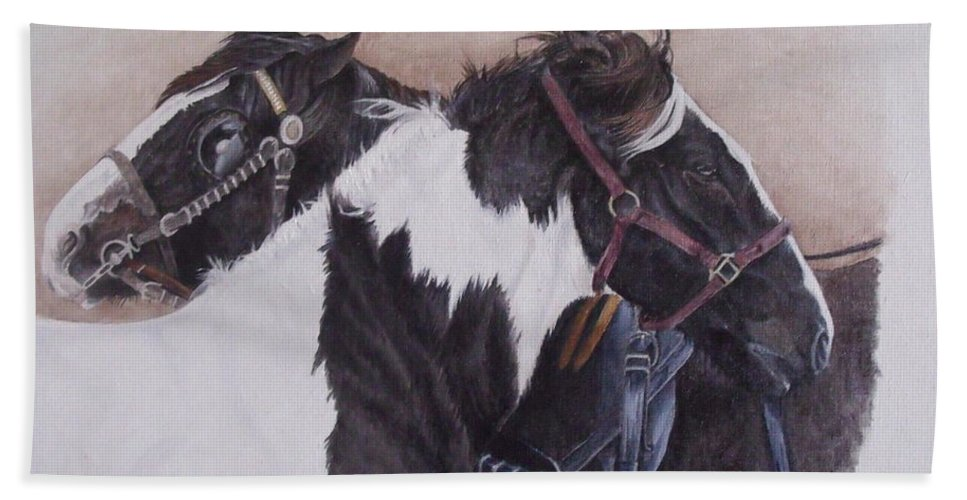 Portrait Hand Towel featuring the painting A Little Comfort Milltown Fair by Pauline Sharp