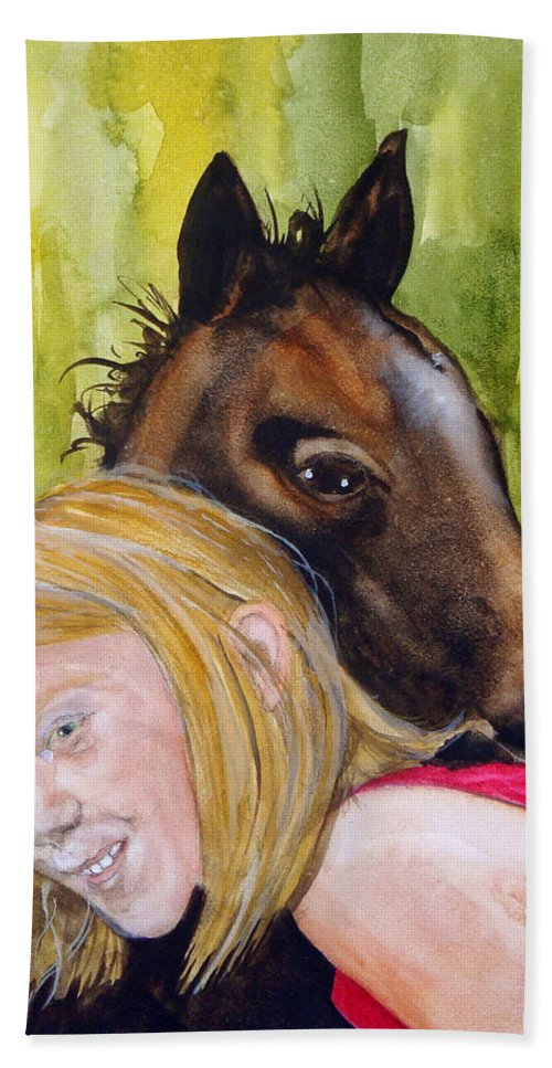 Equine Hand Towel featuring the painting A Little Girl's Fancy by Jean Blackmer