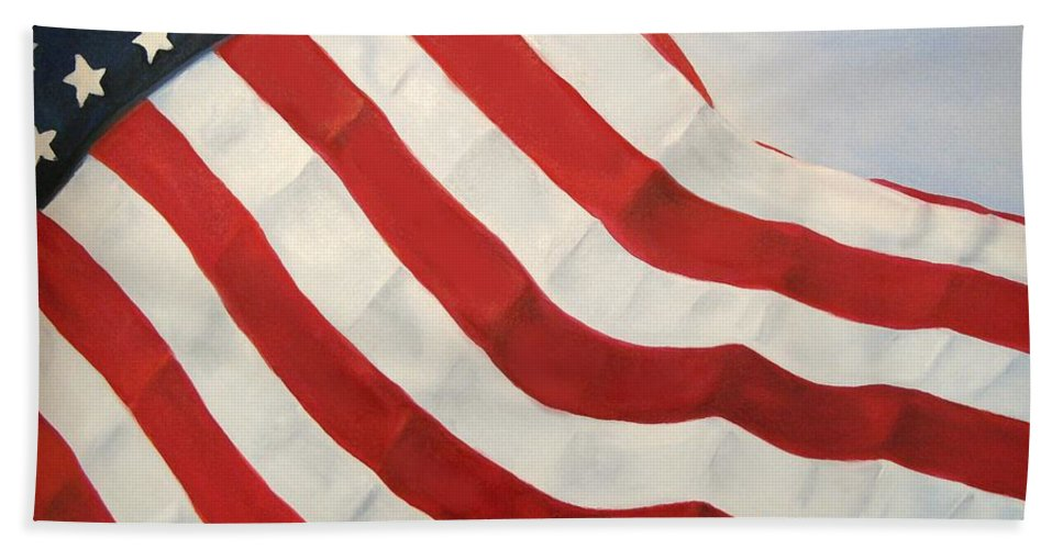 Flag Hand Towel featuring the painting A Little Glory by Carol Sweetwood