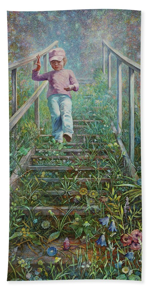Stairway To Heaven Hand Towel featuring the painting The Little Prince by Alexander Vutianov