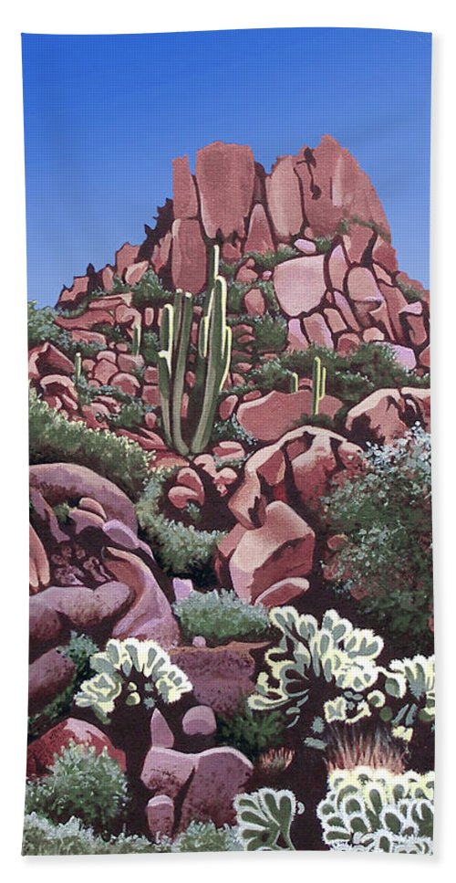 North Scottsdale Hand Towel featuring the painting A Little Slice Of Arizona by Joe Roselle