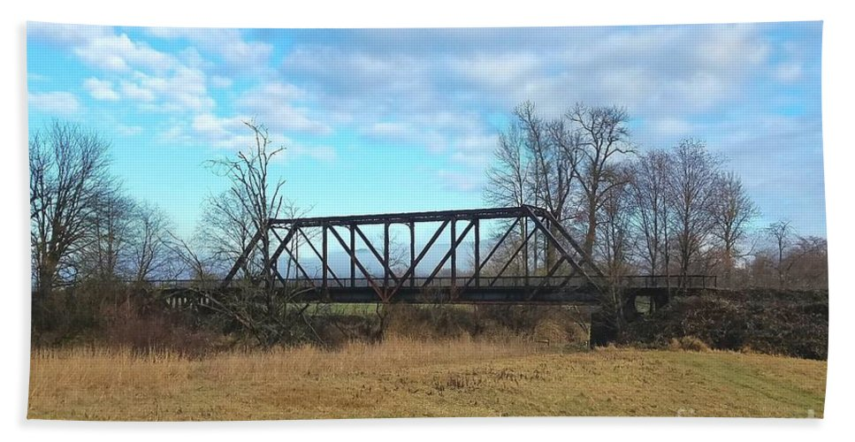 An Old Railroad Bridge Bath Sheet featuring the photograph A Lonesome Railroad Bridge In Winter  by Jane Powell