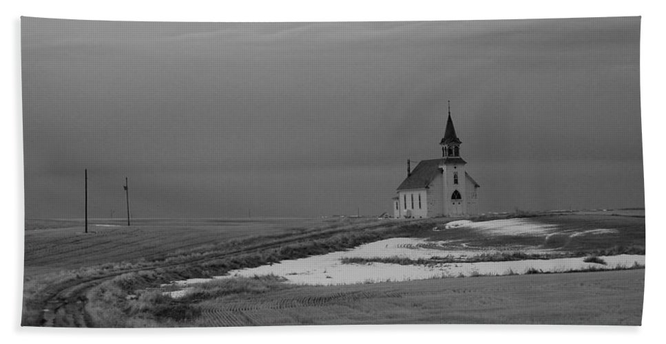 Trees Hand Towel featuring the photograph A Long Cold Road To Salvation by Jeff Swan