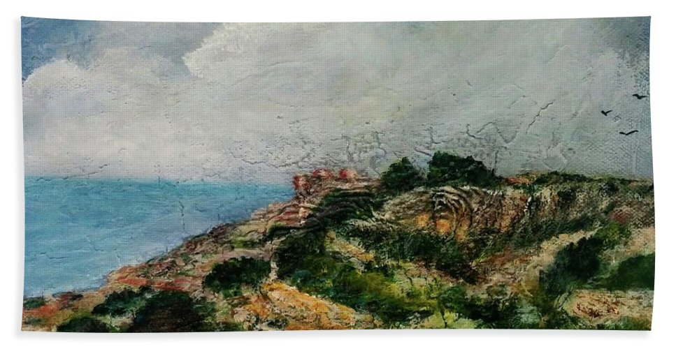 Hand Towel featuring the painting A Maltese Country Landscape by Anthony Camilleri