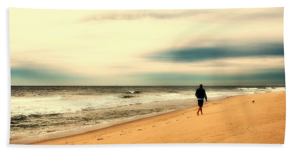 Jersey Shore Hand Towel featuring the photograph A Man's Serenity - Jersey Shore by Angie Tirado