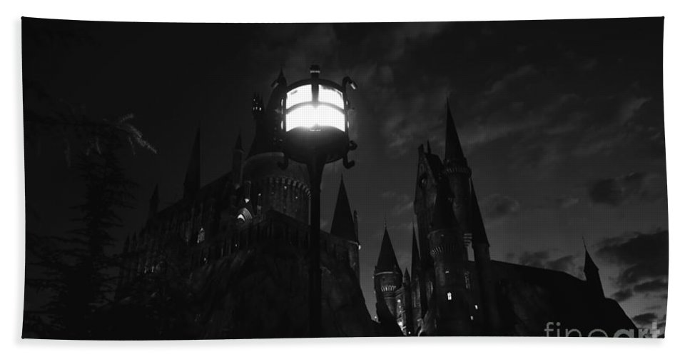 Medieval Castle Hand Towel featuring the photograph A Medieval Nights Dream by David Lee Thompson