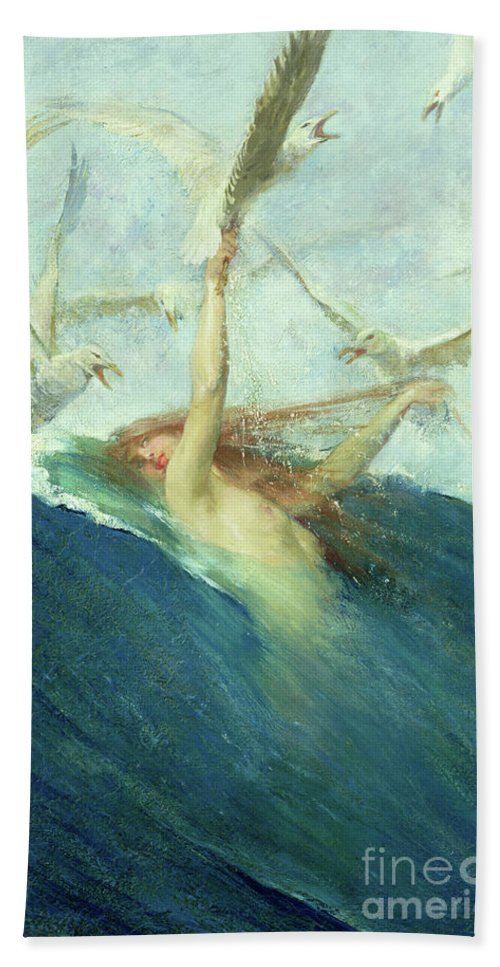 Seagulls Bath Towel featuring the painting A Mermaid Being Mobbed By Seagulls by Giovanni Segantini
