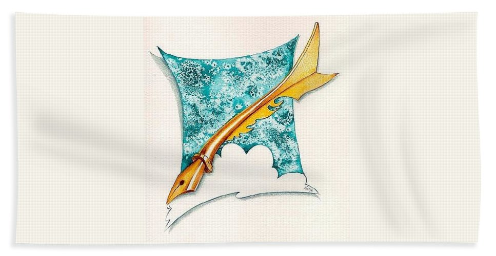 Message Bath Sheet featuring the drawing A Message For You by Ilaria Andreucci