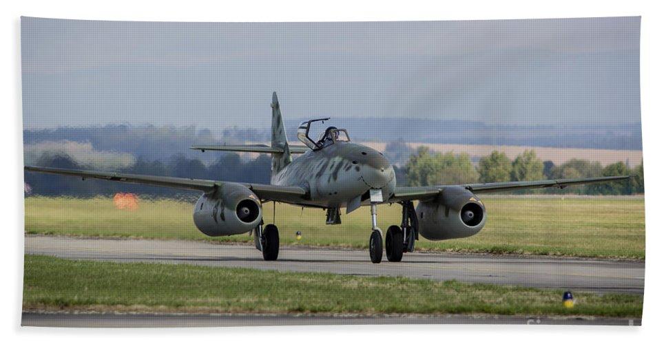 Hradec Kralove Bath Sheet featuring the photograph A Messerschmitt Me-262 Replica Taxiing by Timm Ziegenthaler
