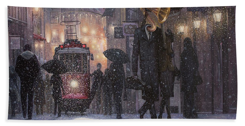 Music Bath Towel featuring the painting A Midwinter Night's Dream by Adrian Borda
