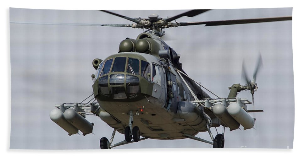 Hradec Kralove Bath Sheet featuring the photograph A Mil Mi-17 Helicopter Of The Czech Air by Timm Ziegenthaler