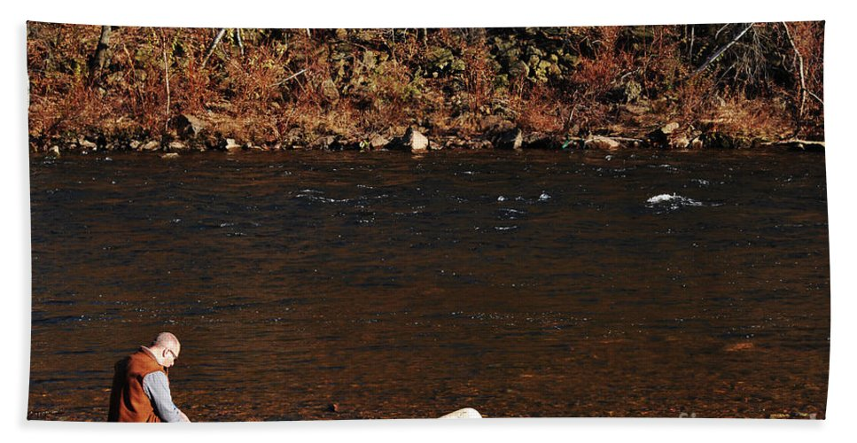 Person Hand Towel featuring the photograph A Moment By The Water by Lori Tambakis