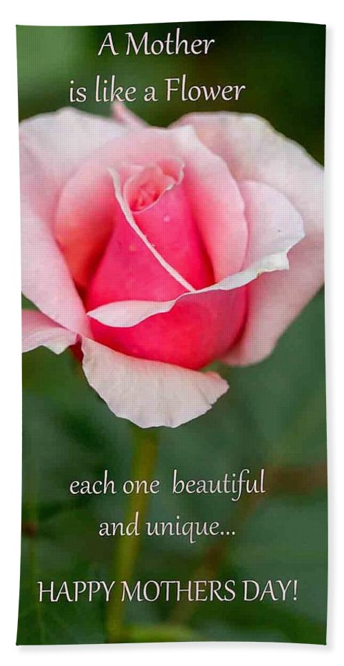 Greeting Card Hand Towel featuring the photograph A Mother Is Like A Flower by Deb Buchanan