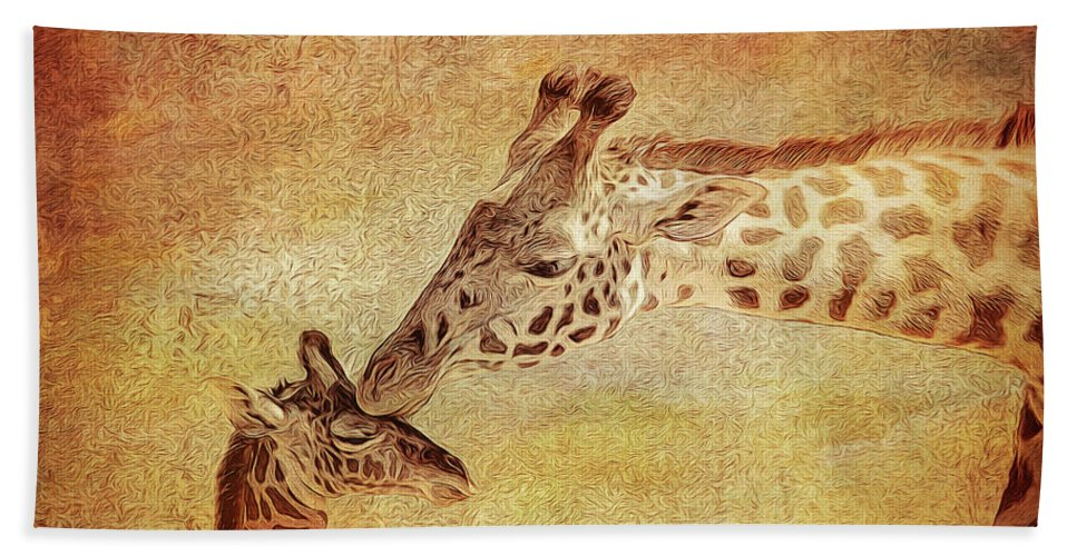 Giraffe Hand Towel featuring the photograph A Mother's Kiss Painted 2 by Judy Vincent