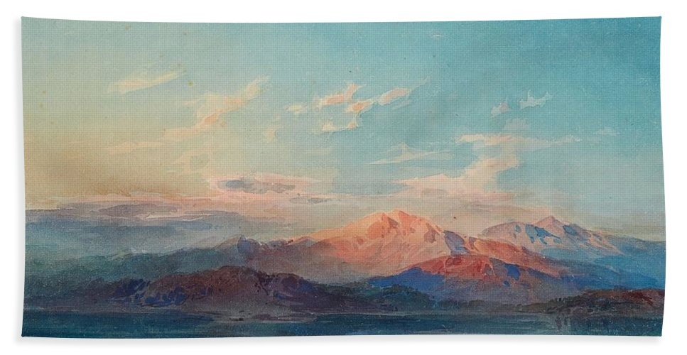 Leopold Rottmann Bath Sheet featuring the painting A Mountain Lake At Sunset by Leopold Rottmann