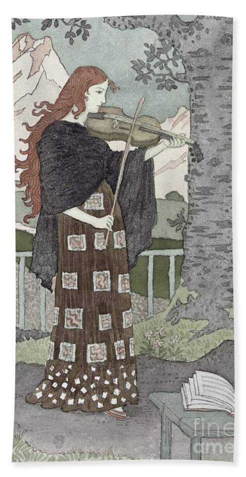A Musician (w/c On Paper) By Eugene Grasset (1841-1917) Bath Sheet featuring the painting A Musician by Eugene Grasset