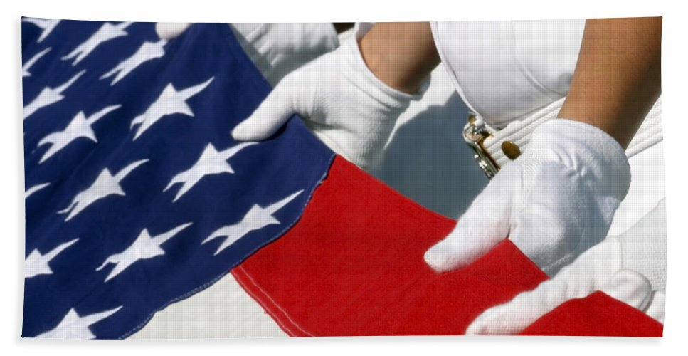 Color Image Bath Sheet featuring the photograph A Naval Station Pearl Harbor Ceremonial by Stocktrek Images
