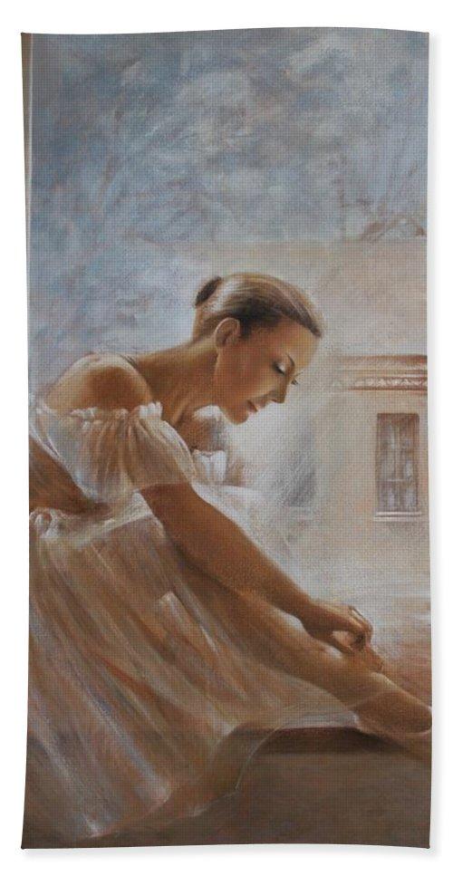 Ballerina Hand Towel featuring the painting A New Day Ballerina Dance by Vali Irina Ciobanu