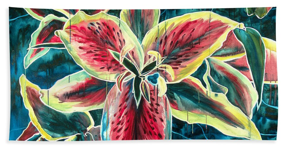 Floral Painting Bath Sheet featuring the painting A New Day by Jennifer McDuffie