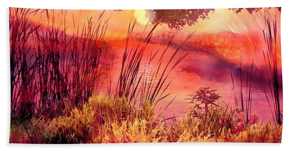 Landscape Hand Towel featuring the mixed media A New Day by Robin Monroe