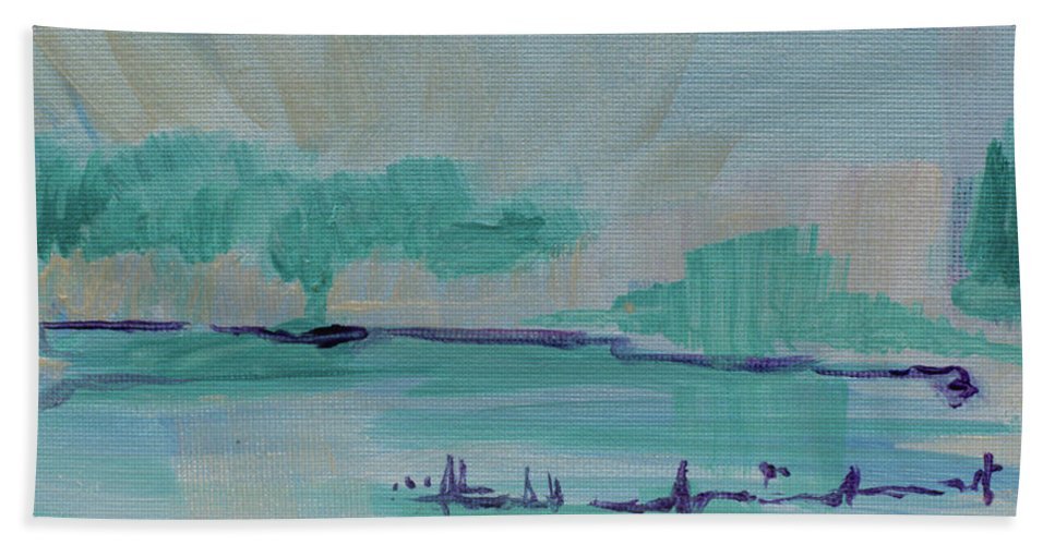 Christian Hand Towel featuring the painting A New Earth by Kathleen Sandoval