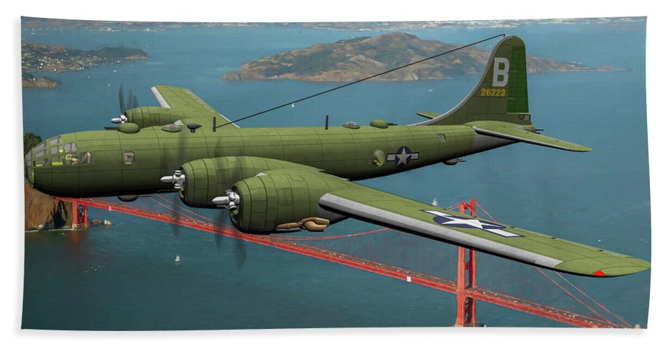 Boeing B-29 Superfortress Hand Towel featuring the digital art A New Kind Of Bird Over California - Oil by Tommy Anderson