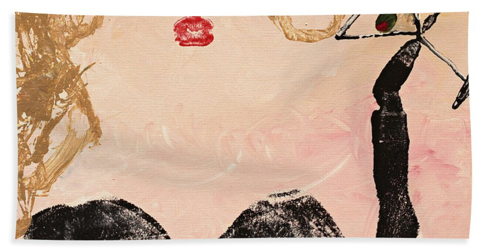 Body Prints Hand Towel featuring the painting A Night Out by April Kasper