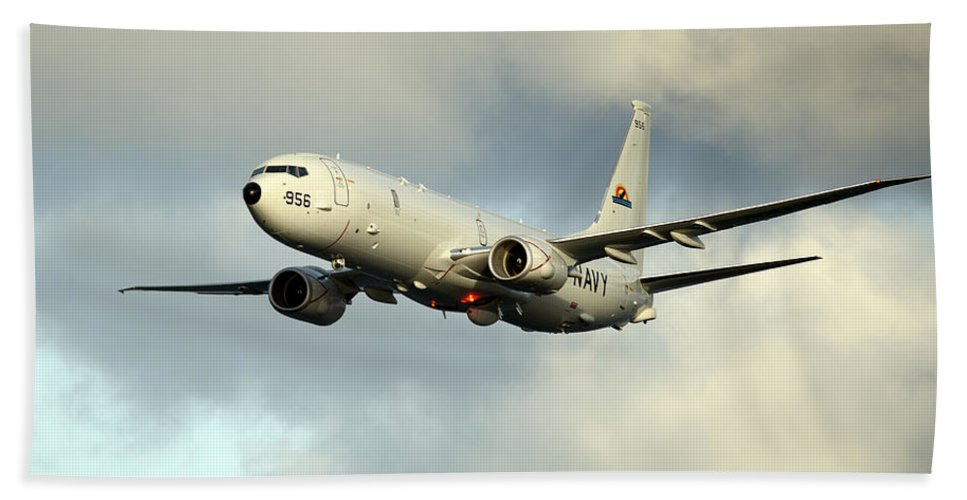 Exercise Bold Alligator Hand Towel featuring the photograph A P-8a Poseidon In Flight by Stocktrek Images
