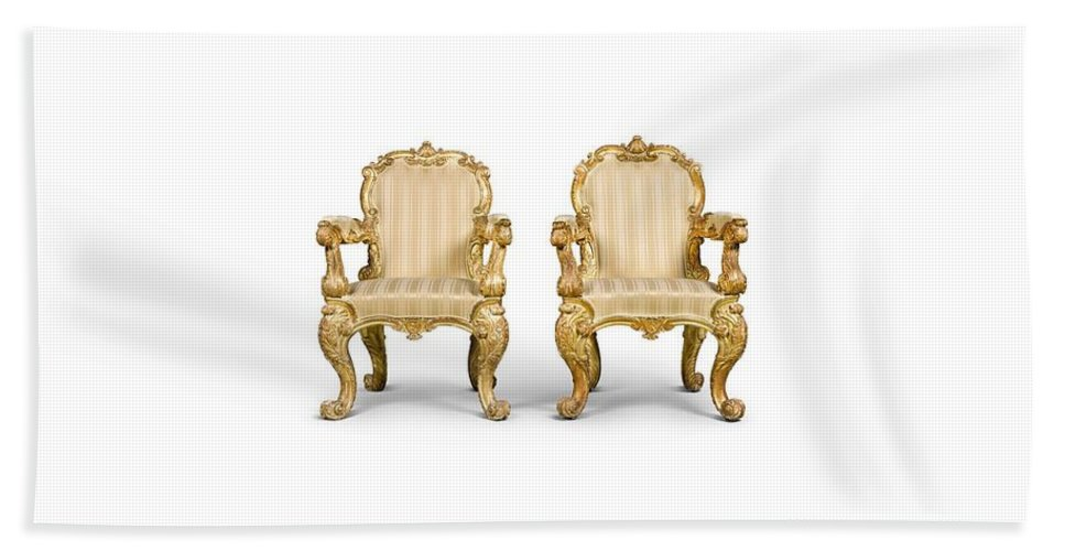 A Pair Of George Iv Carved Giltwood And Upholstered