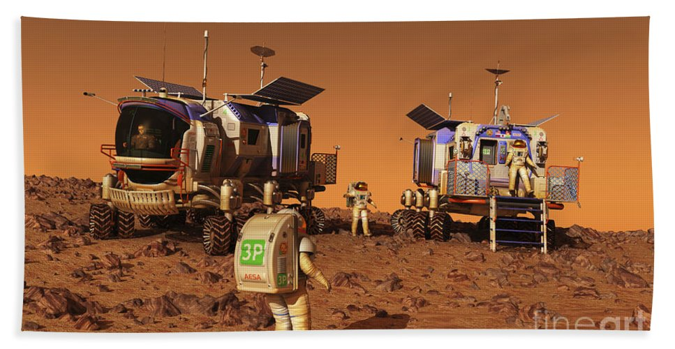Space Exploration Bath Sheet featuring the digital art A Pair Of Manned Mars Rovers Rendezvous by Walter Myers
