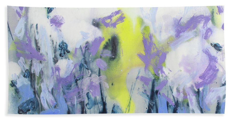 Abstract Hand Towel featuring the painting A Patch Of Purple by Claire Desjardins