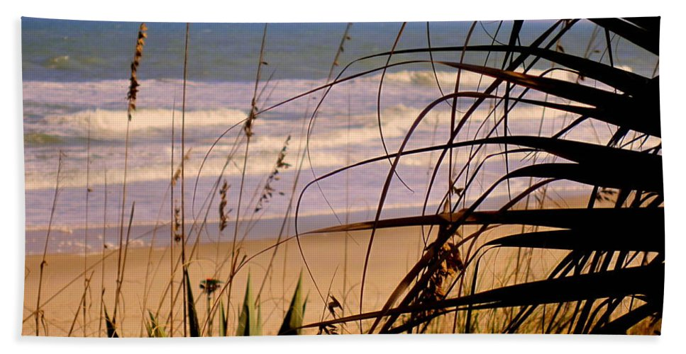 Peek At The Shore Bath Sheet featuring the photograph A peek at the shore by Susanne Van Hulst